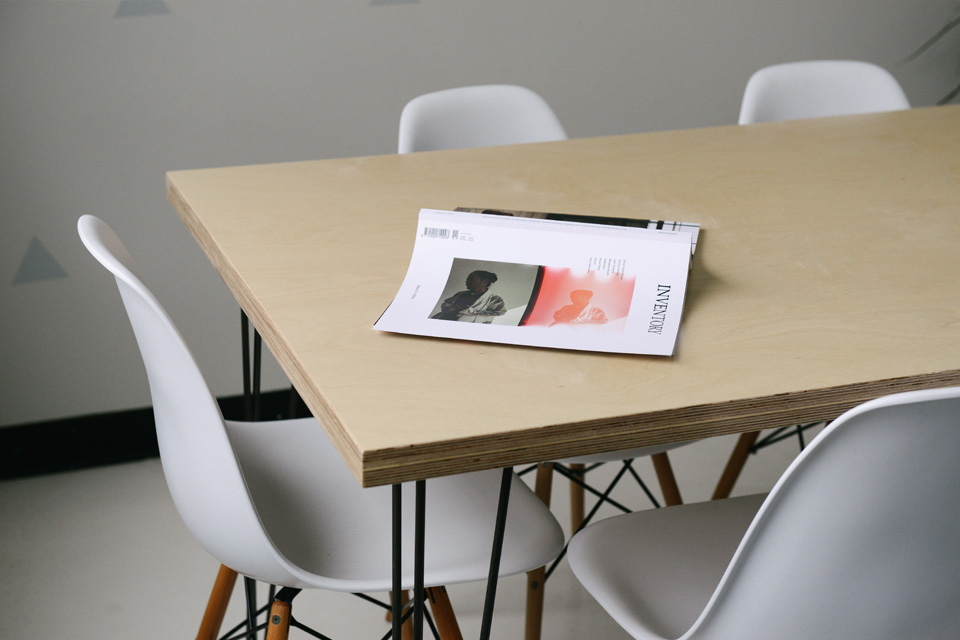 Table with a magazine